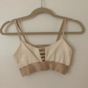 Bebe white and rose gold crop top